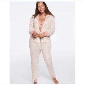 PINK VICTORIA'S SECRET Sherpa One-Piece Pajama, L